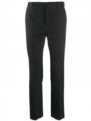 Классические брюки в тонкую полоску Saint Laurent. Цвет: черный