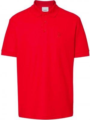 Рубашка-поло из ткани пике с монограммой Burberry. Цвет: красный