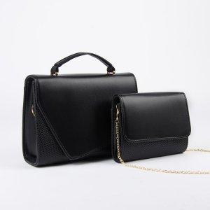 Набор сумок, отдел на магните, длинный ремень, цепочка, цвет чёрный TEXTURA