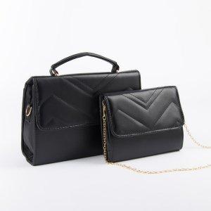 Набор сумок, отдел на клапане, длинный ремень, цепочка, цвет чёрный TEXTURA