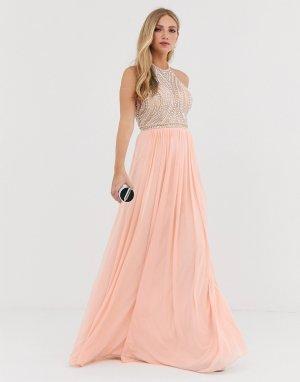 Декорированное платье макси с американской проймой и юбкой-трапецией -Розовый Jovani