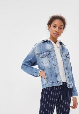 Куртка джинсовая Sisley SI007EWAYGV0. Цвет: голубой