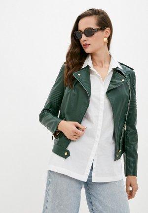 Куртка кожаная MD. Цвет: зеленый