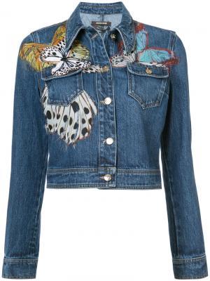 Джинсовая куртка с бабочками Roberto Cavalli. Цвет: синий