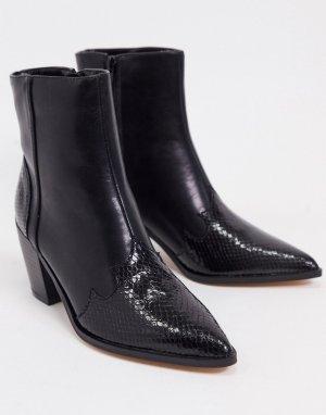 Черные ботильоны в ковбойском стиле на каблуке -Черный Lipsy