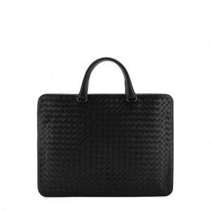 Кожаный портфель с плетением intrecciato Bottega Veneta. Цвет: чёрный