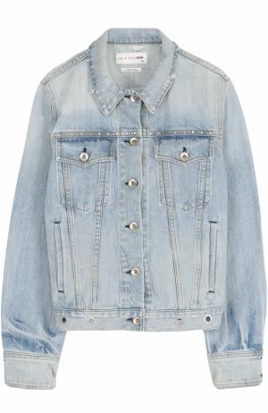 Джинсовая куртка прямого кроя с потертостями Rag&Bone. Цвет: голубой