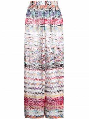 Пляжные брюки с узором зигзаг Missoni. Цвет: белый