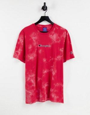 Красная футболка с маленьким логотипом-надписью на груди и принтом тай-дай -Красный Champion