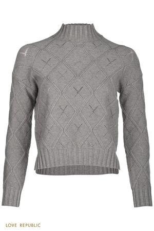 Теплый свитер с фигурным рельефом и перфорацией LOVE REPUBLIC