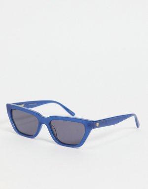 Угловатые солнцезащитные очки в тонкой оправе синего цвета -Голубой Hot Futures