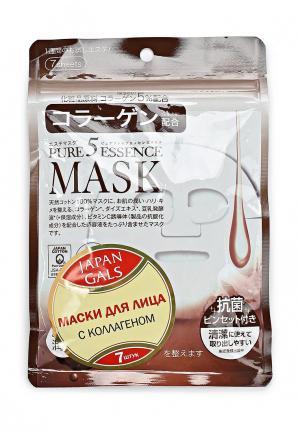 Набор масок для лица Japan Gals с коллагеном Pure 5 Essential 7 шт. Цвет: белый