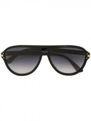 Солнцезащитные очки-авиаторы с логотипом AMIRI. Цвет: черный