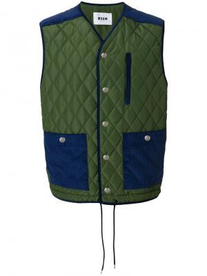 Quilted gilet jacket MSGM. Цвет: зелёный