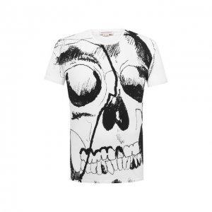 Хлопковая футболка Alexander McQueen. Цвет: чёрно-белый