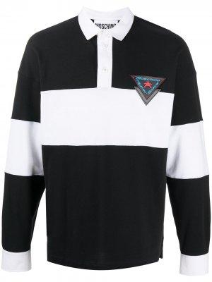 Двухцветная рубашка поло с длинными рукавами Moschino. Цвет: черный