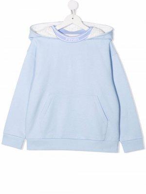 Logo-collar cotton hoodie Fendi Kids. Цвет: синий