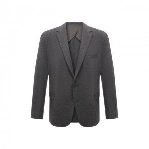 Хлопковый пиджак Ralph Lauren. Цвет: серый
