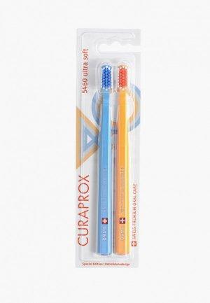 Комплект зубных щеток Curaprox Набор CS5460 щетин ultrasoft Retro Edition1, d 0,10 мм (2 шт.). Цвет: разноцветный