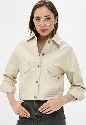 Куртка кожаная Aaquamarina. Цвет: бежевый
