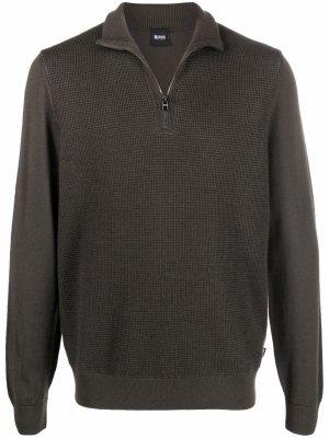 Waffle-knit virgin wool jumper Boss Hugo. Цвет: зеленый