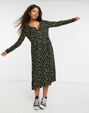 Платье миди с принтом BlendShe-Многоцветный Blend She