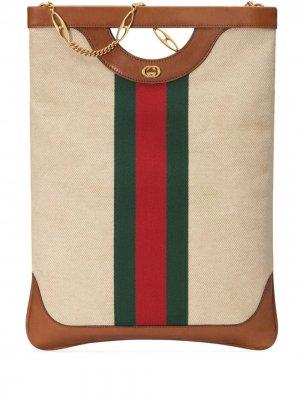 Большая парусиновая сумка-тоут Gucci. Цвет: нейтральные цвета