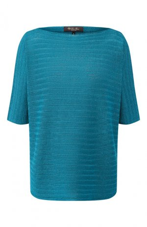 Пуловер из смеси льна и шелка Loro Piana. Цвет: бирюзовый