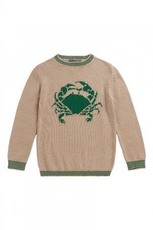 Пуловер с принтом Bonpoint. Цвет: бежевый