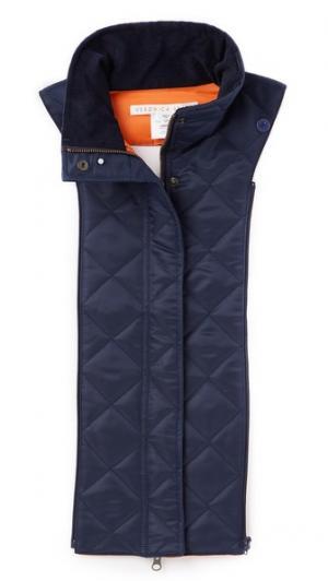 Стеганый жакет в стиле бомбера Veronica Beard. Цвет: темно-синий/оранжевый