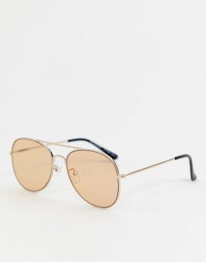 Солнцезащитные очки‑авиаторы в золотистой оправе AJ Morgan. Цвет: золотой