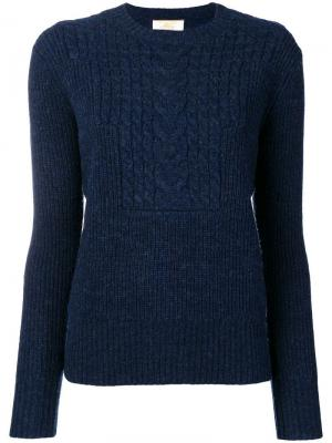 Джемпер вязки с косичками Le Mont St Michel. Цвет: синий