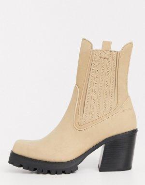 Коричневые кожаные ботинки -Коричневый цвет Jeffrey Campbell