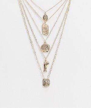 Золотистые тонкие короткие цепочки с подвесками -Золотой ASOS DESIGN