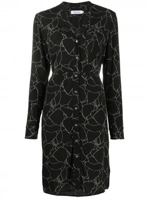 Платье-рубашка с цветочным принтом Calvin Klein. Цвет: черный