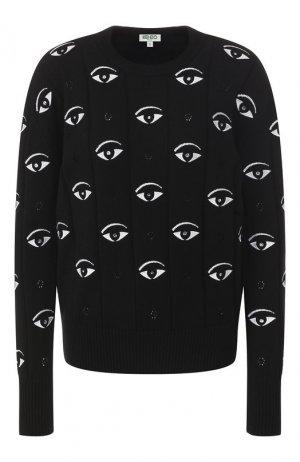 Хлопковый пуловер Kenzo. Цвет: черный