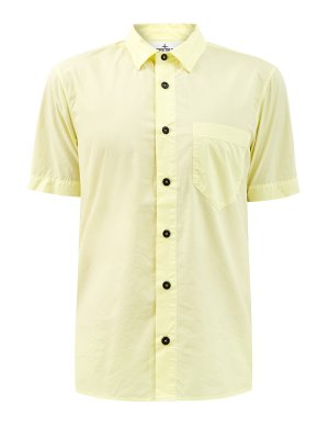 Рубашка slim-fit из легкого хлопка с вышитым логотипом STONE ISLAND. Цвет: желтый