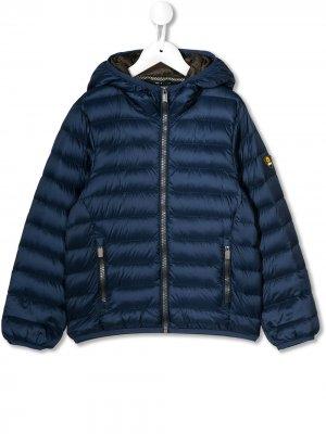 Куртка-пуховик с нашивкой-логотипом Ciesse Piumini Junior. Цвет: синий