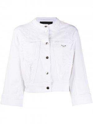 Укороченная джинсовая куртка Emporio Armani. Цвет: белый