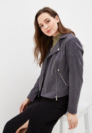 Куртка кожаная Dorothy Perkins. Цвет: серый