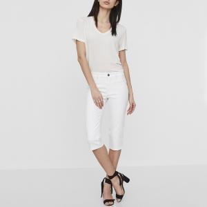 Брюки короткие узкие HOT SEVEN со стандартной талией из джинсовой ткани VERO MODA. Цвет: синий деним
