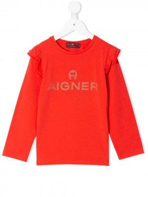 Толстовка с оборками и стразами Aigner Kids. Цвет: красный