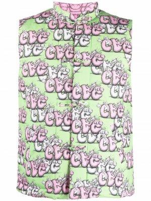 Двусторонний жилет с принтом из коллаборации KAWS Comme Des Garçons Shirt. Цвет: зеленый