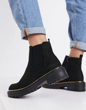 Черные ботинки-челси на массивной подошве с окантовкой -Черный New Look