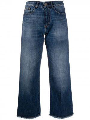 Укороченные джинсы с эффектом потертости Seventy. Цвет: синий