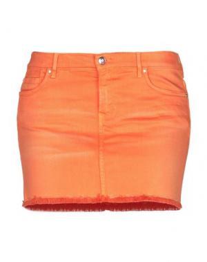 Джинсовая юбка VDP COLLECTION. Цвет: оранжевый