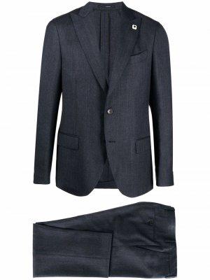 Костюм-двойка с однобортным пиджаком Lardini. Цвет: синий