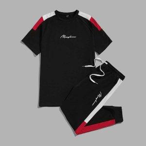 На кулиске с карманами Боковая полоса Контрастный цвет буква Институтский Мужской Комплект из двух предметов SHEIN. Цвет: чёрный