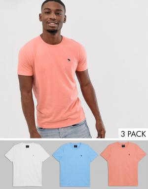 Набор футболок с круглым вырезом и логотипом (коралловый/белый/голубой) Abercrombie & Fitch. Цвет: мульти
