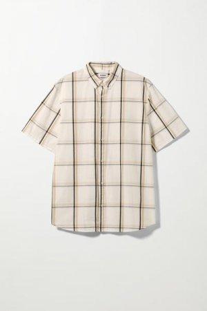 Рубашка Dameer в клетку с короткими рукавами Weekday. Цвет: разноцветный, белый
